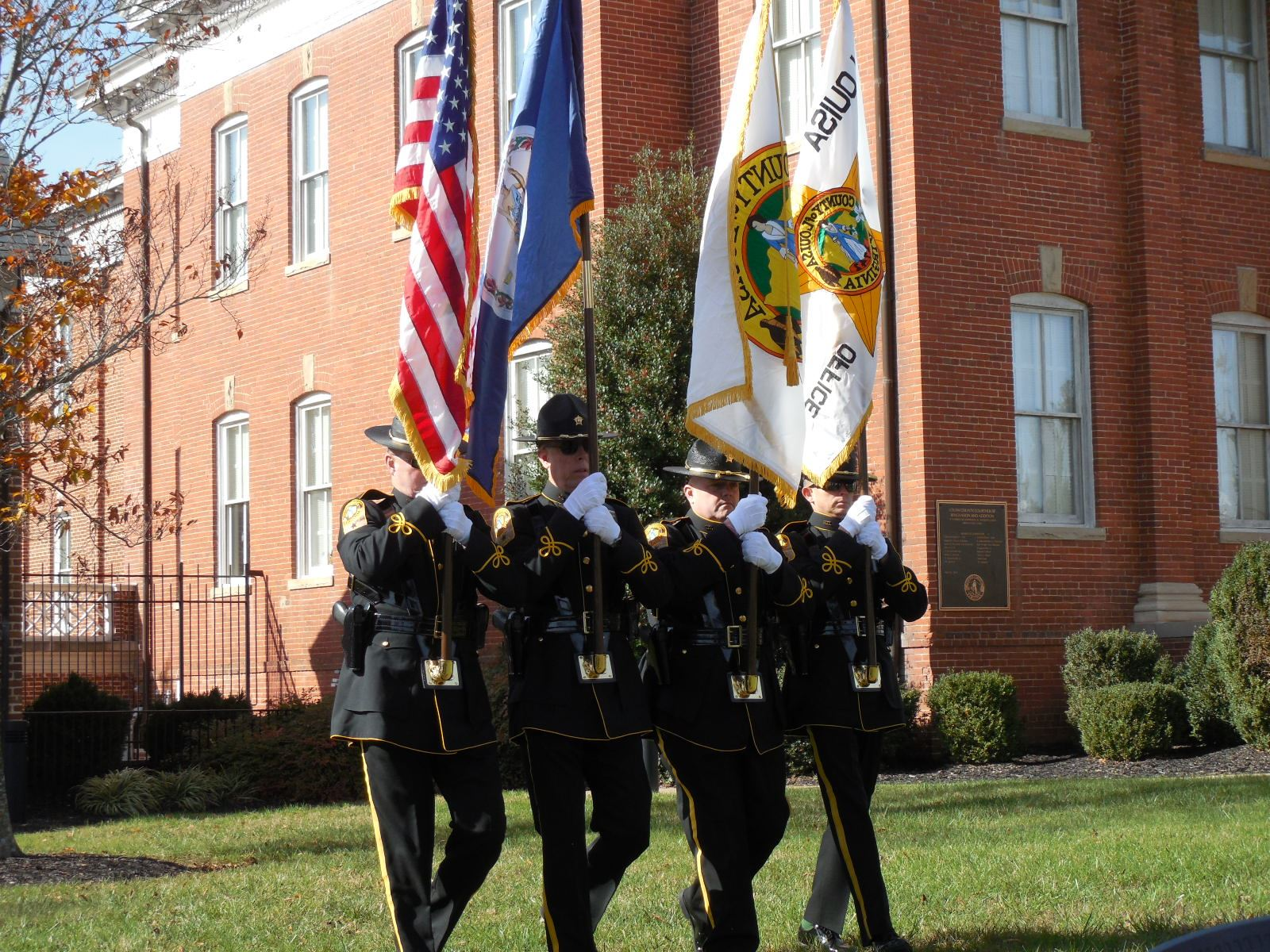 Honor Guard on Marching during Veteran's Day Ceremony