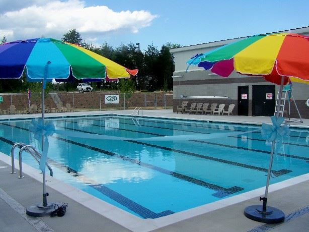 Image of an empty pool with umbrellas