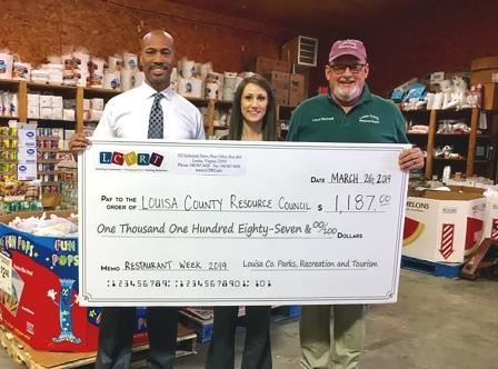 Louisa County Restaurant Week Donation Picture - Correct Amountweb