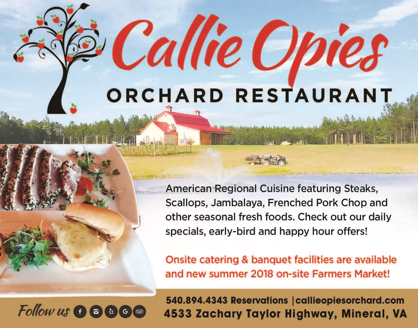 Callie Opies Orchard - Menu