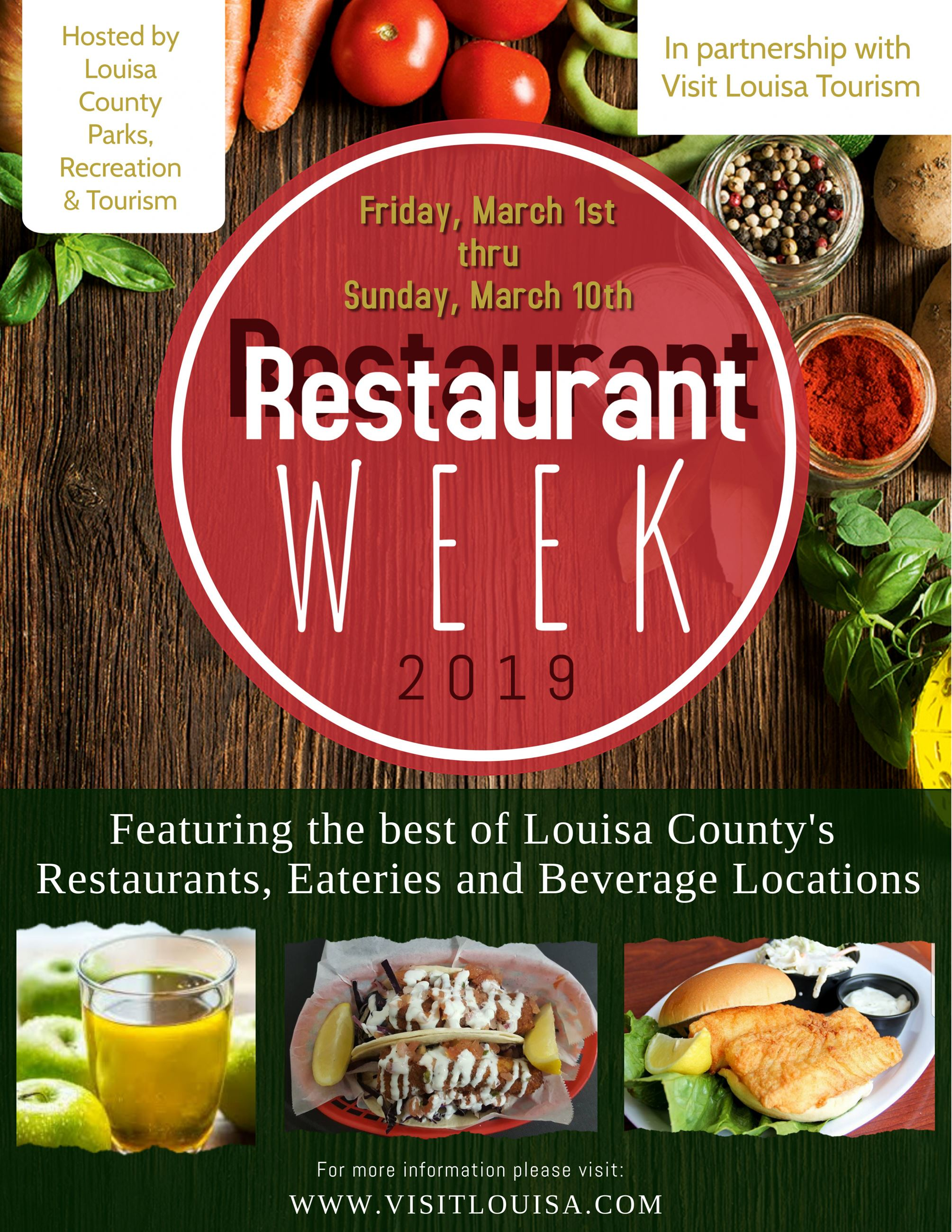 Louisa County Restaurant Week Flyer Opens in new window