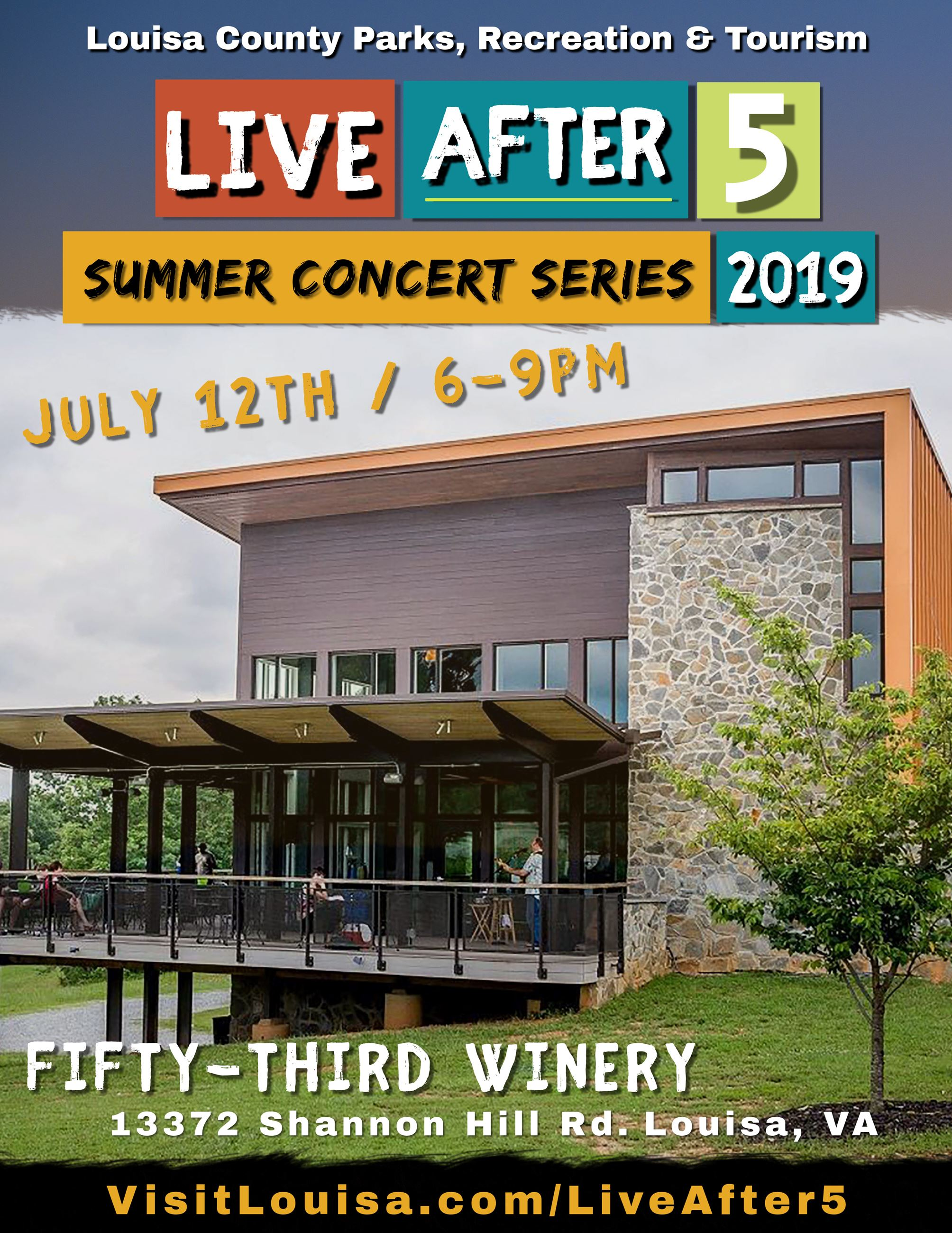 Flyer for Fifty-Third Winery - Live After 5