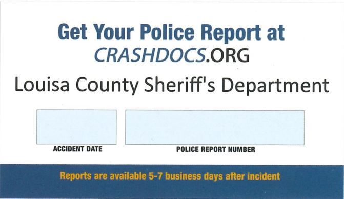 Sample of the CrashDocs card you will get from our deputies